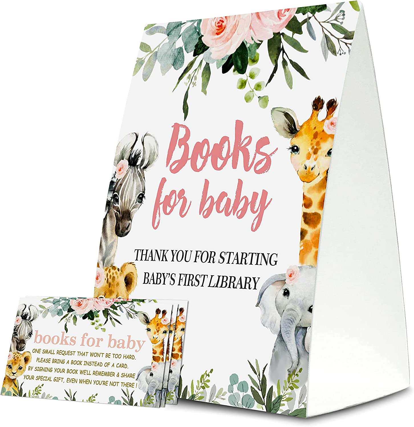 Book Request For Baby Shower, books for baby cards, 1 Sign & 50 Cards Per Pack – (bb002-book)