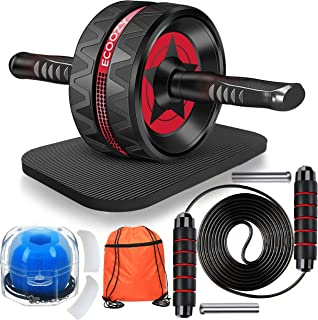 Ecoozy Ab Roller Wheel, 8-in-1, Ab Roller Kit with Resistance Bands, Push Up Bars, Weight Jump Rope for Abs Workout – Gym...