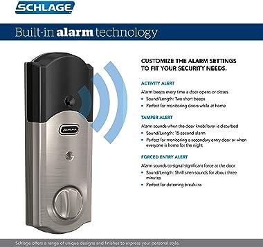 SCHLAGE BE469ZP CAM 716 SCHLAGE Connect Smart Deadbolt With Alarm Inbuilt Camelot Trim In Aged Bronze