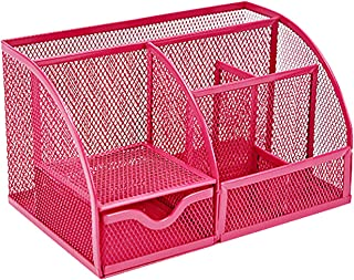 VANRA Office Supply Caddy Mesh Desk Organizer School Supply Holder 6 Compartments with Drawer (Pink)