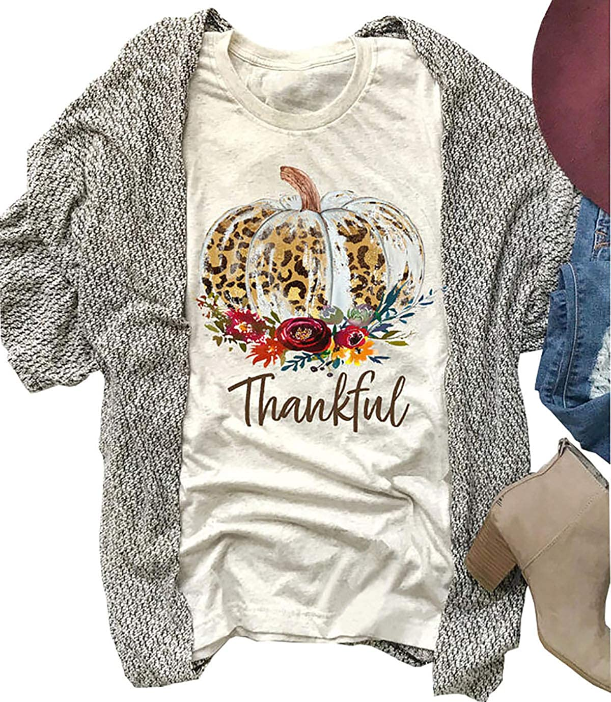 It\u2019s Fall Y\u2019all Women\u2019s T-shirts Sunflower Pumpkin Shirt Thanksgiving Shirt Leopard Pumpkin Shirt Ladies Fall Shirt