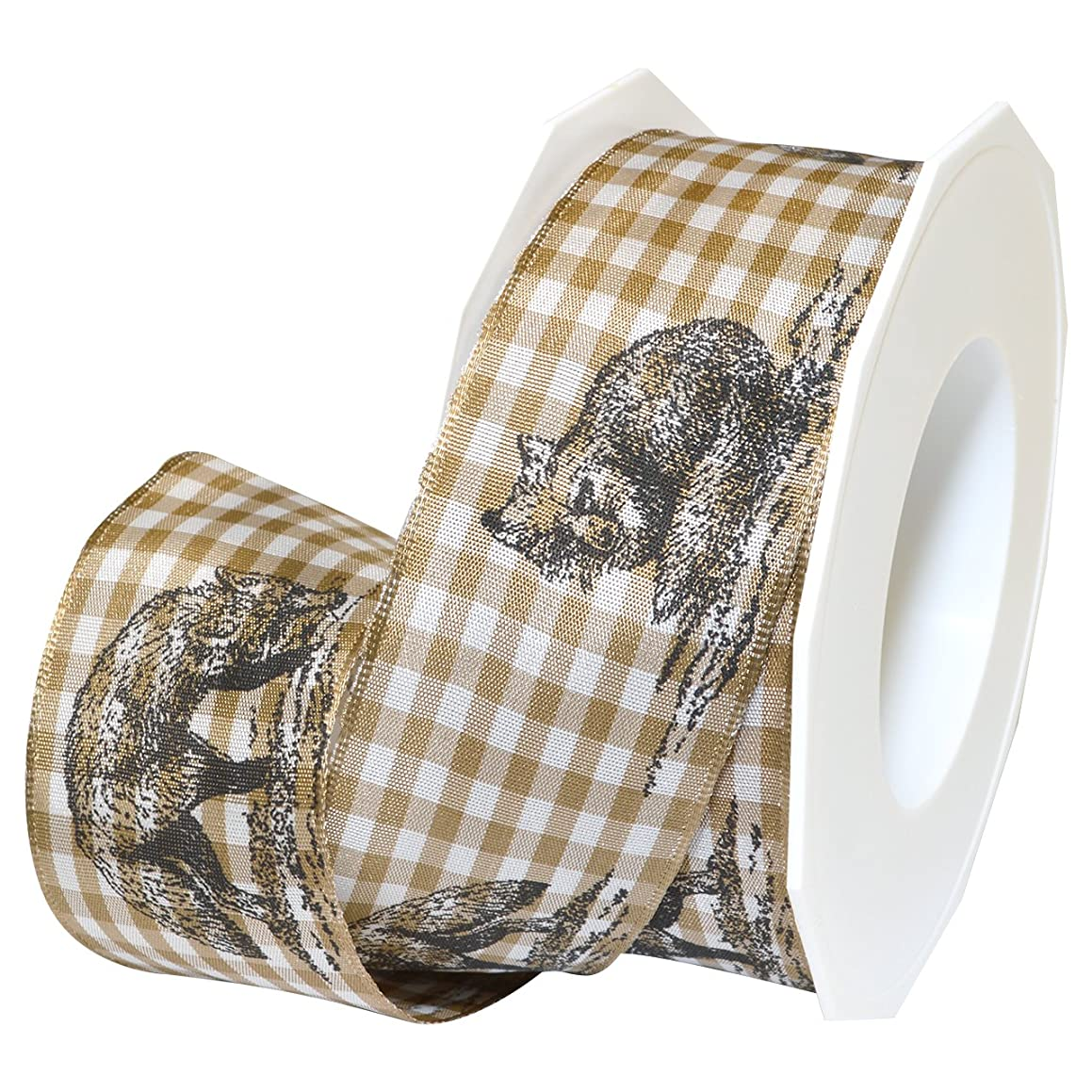 Morex Ribbon 79940/15-104 Fox French Wired Polyester Ribbon, 1 1/2