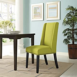 Modway Baron Modern Tall Back Wood Upholstered Fabric Parsons Kitchen and Dining Room Chair with Nailhead Trim in Wheatgrass