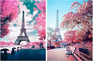 HaiMay 2 Pack DIY 5D Diamond Painting Kits for Adults Paint by Number Kits Full Drill Painting Diamond Pictures Arts Craft for Wall Decoration, Pink Eiffel Tower(12�16inches)