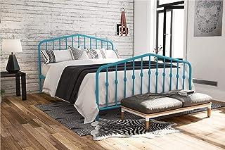 Novogratz Bushwick Metal Bed with Headboard and Footboard   Modern Design   Full Size - Blue