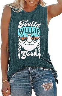 DUTUT Tank Tops Women Feelin' Willie Good Tank Summer O-Neck Graphic tee Sleeveless Vest Tops