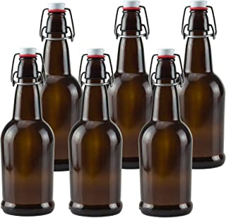 Ilyapa 16oz Amber Glass Beer Bottles for Home Brewing - 6 Pack with Airtight Rubber Seal Flip Caps