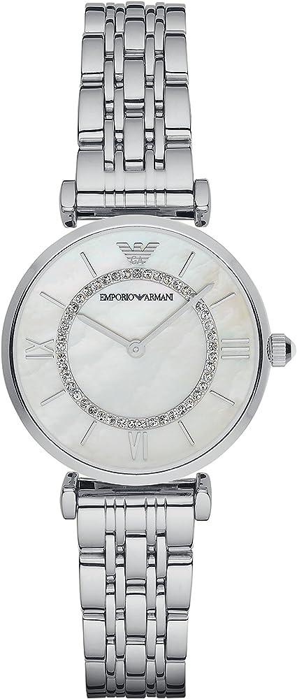 Emporio armani, orologio analogico al quarzo per donna, in acciaio e quadrande in madrperla con glitter AR1908