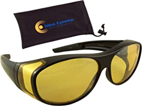 Ideal Eyewear Night Driving Wear Over Glasses Yellow Lens Fit Over Glasses