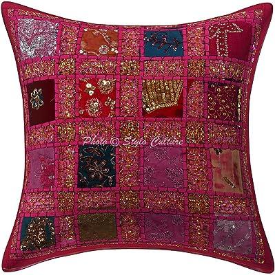 Stylo Culture Coton Coussin Ethnique Couverture Sequins Patchwork 16x16 Cache-Oreille Géométrique Rose