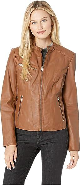 """Felicity 19"""" Feather Leather Moto Jacket"""