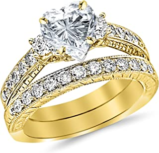 1.77 Carat Classic Channel Set Wedding Set Bridal Band & Diamond Engagement Ring with a 0.74 Carat Heart Cut E Color SI2 Clarity Center Stone
