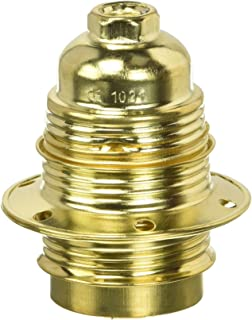 Electraline 71129 Threaded E27 Light Bulb Socket with 2 Rings Brass