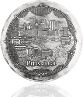 Wendell August Pittsburgh Bridges Coaster, Aluminum Drink Coaster Handmade in the USA, Protects Tabletops, Beautiful Steel City Design