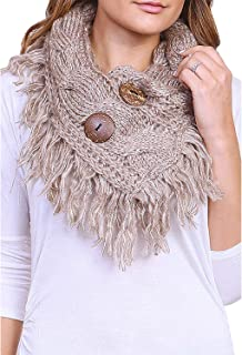 Women's Winter Warm Button Accent Cable Knit Infinity Scarf - YS3680