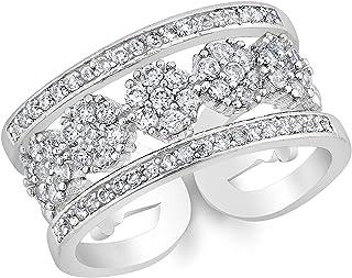 Beauty Elites 钻石戒指镶有 5 颗圆形钻石 - 可调节尺寸 7-9