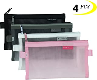 Zipper Pouch, 4 PCS, Mesh Zipper Bags Clear Zipper Pouch Small Organizer Bag Zipper Folder Bag Cosmetic Bags Travel Storage Bags, Size: 7.8