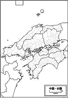 中国・四国地方の白地図 A1サイズ 2枚セット