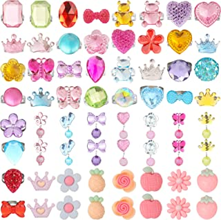 HaiMay 52 Pieces Little Girl Shiny Clip-on Earrings and Adjustable Jewelry Rings Set,Children Kids Girl Pretend Play Earri...