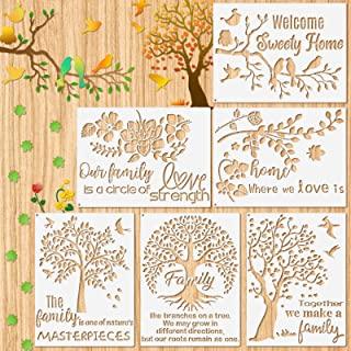 6 Pieces Family Tree Stencil Kit Flower Stencil Bird Reusable Mylar Template Stencils with Metal Open Ring for Painting on...