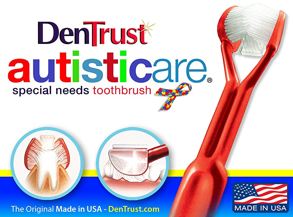 6 Pack : DENTRUST 3- Sided Special Needs Toothbrush : Fun and Easy: Complete Oral Care