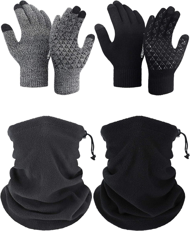 4 Pcs Winter Drawstring Fleece Neck Gaiter and Stretchy Non-Slip Knitted Gloves
