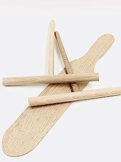 Artisanat français, Kit à crêpes (2 répartiteurs 14 cm et 1 spatule 28 cm) en Bois Made in Jura
