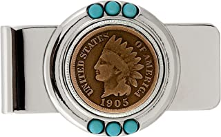 Coin Money Clip - Indian Head Penny | Brass Moneyclip Layered in Silver-Tone Rhodium | Genuine Turquoise Stones | Holds Currency, Credit Cards, Cash | Genuine U.S. Coin | Certificate of Authenticity
