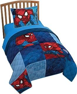 Jay Franco Marvel Spiderman Burst Twin/Full Quilt & Sham Set - Super Soft Kids Bedding Features Spiderman - Fade Resistant Polyester (Official Marvel Product)