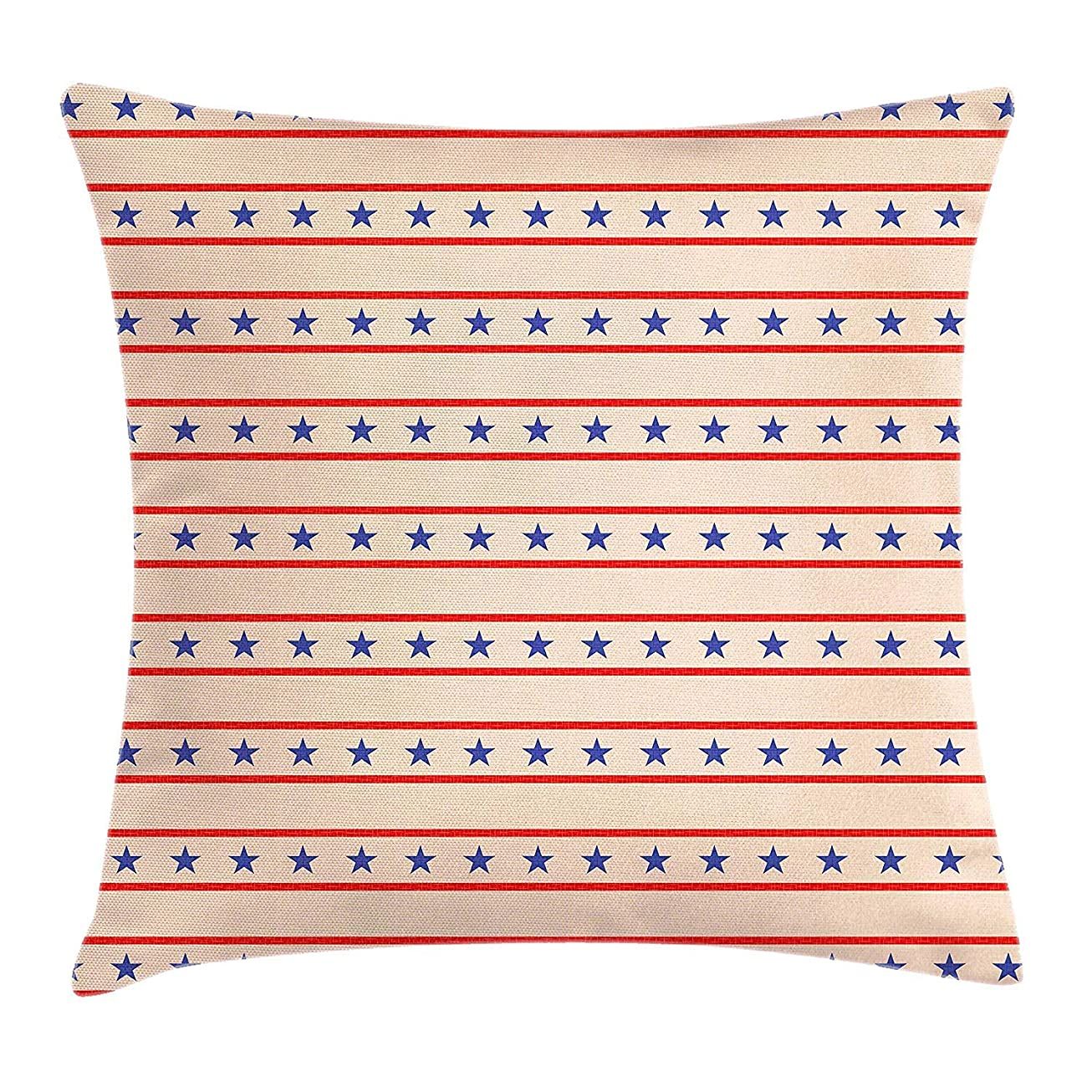 骨折ちょうつがい人Primitive Country Decor Throw Pillow Cushion Cover, Horizontal Borders Patriotic Stars Nostalgic USA Pattern, Decorative Square Accent Pillow Case,Cream Navy Blue Red Size:18 X 18 Inches/45cm x 45cm