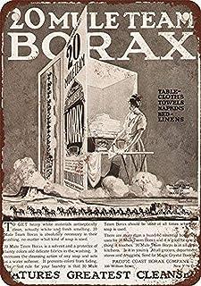Tomlinsony Tennskylt ny aluminium 1923 20 Mule Team Borax tvättmedelskylt 20 x 30 cm