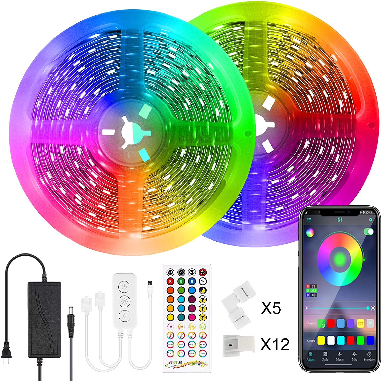 LED Strip Lights Indianapolis Mall Relohas 65.6ft Light Cheap mail order sales RGB Sync Music
