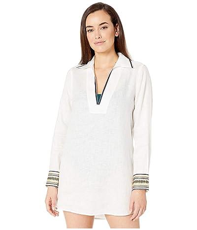 Tory Burch Swimwear Embroidered Beach Shirt (New Ivory) Women