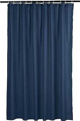 Amazonベーシック シャワーカーテン ワッフルテクスチャー 183cm ネイビーブルー
