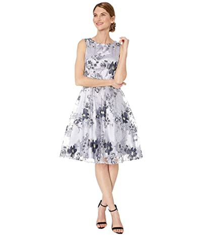 Tahari by ASL Petite Embroidered Fit-and-Flare Party Dress (Ice Blue/Silver) Women
