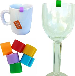 Cup Markers by CUPmarker (Set of 6 Snap-on Drink Tags/Charms for Tumblers, Wine Glasses, Tea Cups & More)