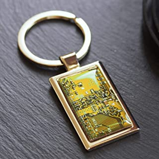 Yellow circuit board keychain, gift for computer geek