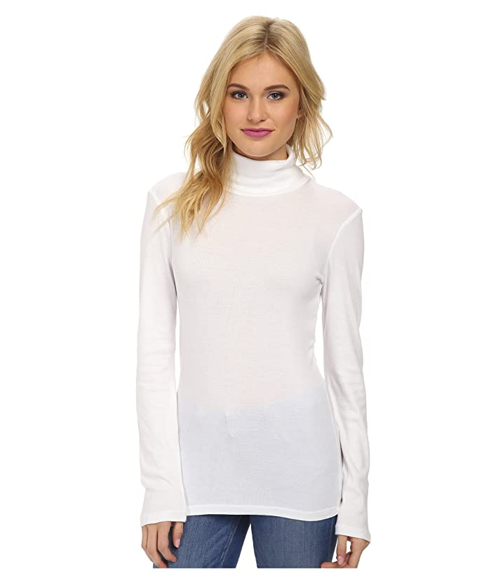 Splendid  1x1 Classic Long Sleeve Turtleneck (White) Womens Long Sleeve Pullover