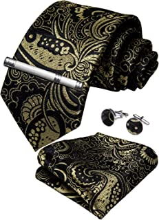 Paisley Tie and Pocket Square Men's Woven Necktie Silk Handkerchief and Cufflink Set