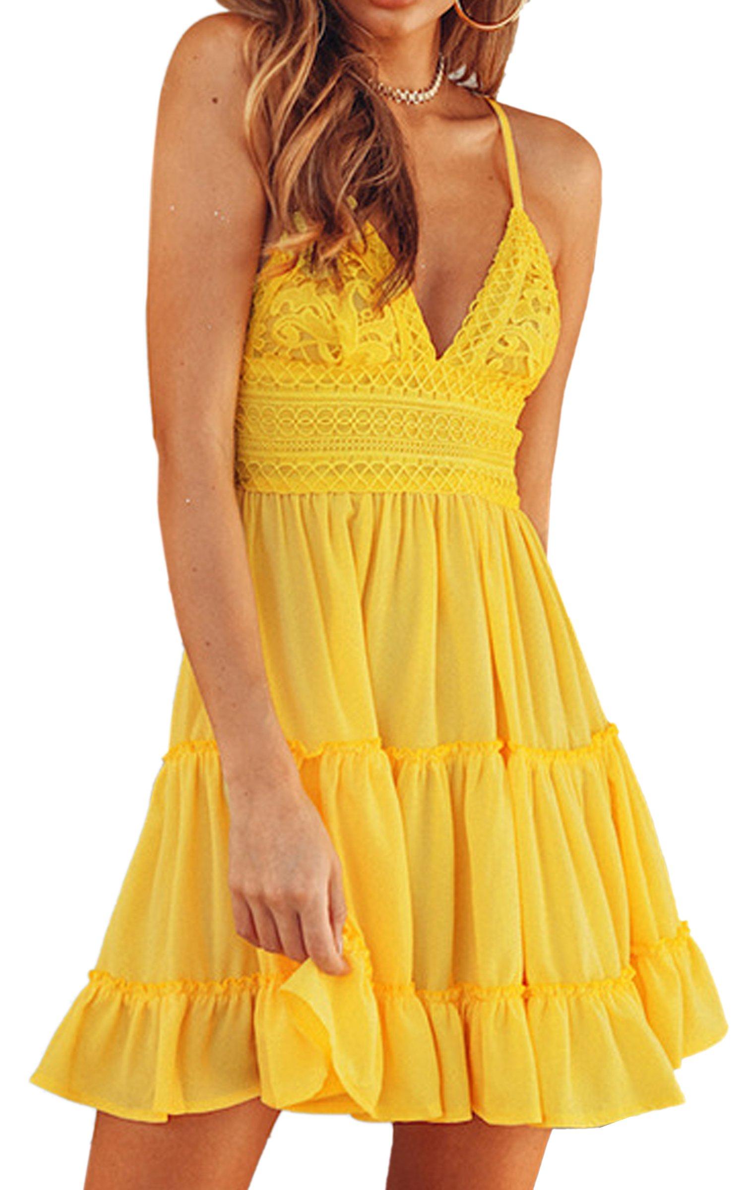 Available at Amazon: ECOWISH Women's V-Neck Spaghetti Strap Bowknot Backless Sleeveless Lace Mini Swing Skater Dress