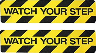Watch Your Step Sign Tape Adhesive | 2 Pack Non-Slip Stair Warning Treads | 6