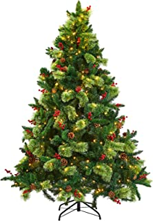 PRAISUN 6 ft Pre-Lit Artificial Christmas Tree with 450 LED Lights, 1105 Branch Tips Hinged Xmas Tree with Metal Stand, Pi...