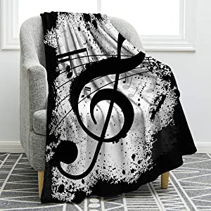 Jekeno Music Note Blanket Print Throw Blanket Soft Comfortable for Sofa Chair Bed Office 60