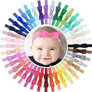 "WillingTee Baby Girls Headbands 3"" Grosgrain Ribbon Hair Bows Baby Headbands Hair Accessories for Baby Girls Infants Toddl..."