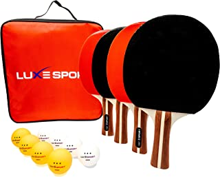 Ping Pong Paddle Set-4 Premium Table Tennis Rackets / Paddles 8 Three Star Balls with Portable Travel Carrying Case - Rec ...