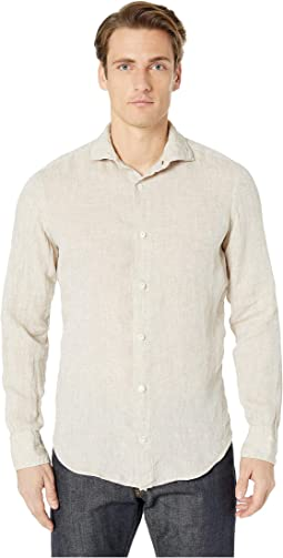 Melange Solid Spread Collar Shirt