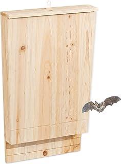 Relaxdays, nature, abri à chauve-souris, Grande niche en bois non traité de sapin, Maison, Boîte HLP : 55 x 35 x 7,5 cm
