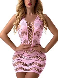 f4b7abdcee FasiCat Women s Mesh Lingerie Fishnet Babydoll Mini Dress Free Size Bodysuit