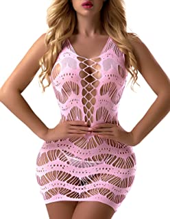 FasiCat Women's Mesh Lingerie for Women Fishnet Babydoll Mini Dress Free Size Bodysuit