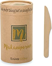 Makaniporium Wooden Disposable Cutlery Set Natural Bamboo Wood - Biodegradable & Eco Friendly - 100 Knives per Pack - Perf...